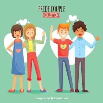 Colección de parejas del orgullo lgbt en estilo hecho a mano