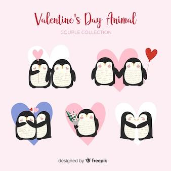 Colección parejas de pingüinos día de san valentín