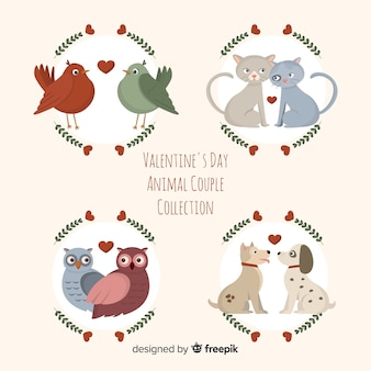 Colección parejas planas de animales san valentín