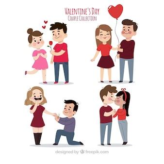 Colección de parejas de san valentín dibujadas a mano