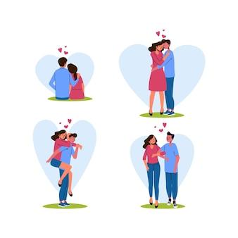 Colección de parejas de san valentín dibujadas