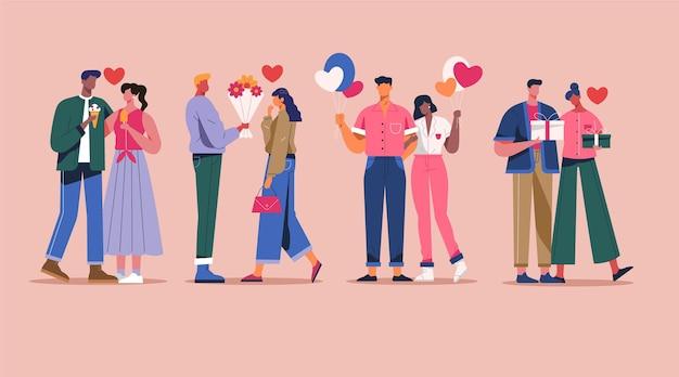 Colección de parejas de san valentín en diseño plano