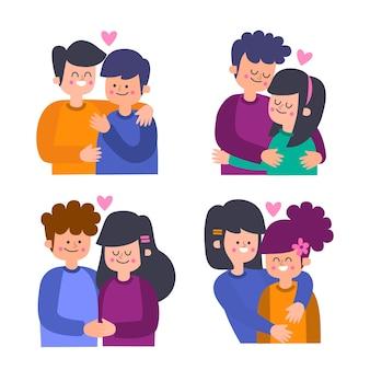 Colección de parejas de san valentín ilustrada