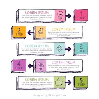 Colección de pasos coloridos de infografía en estilo hecho a mano