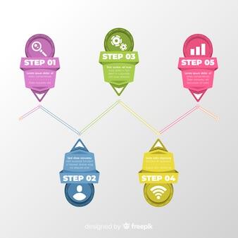 Colección pasos coloridos infografía planos