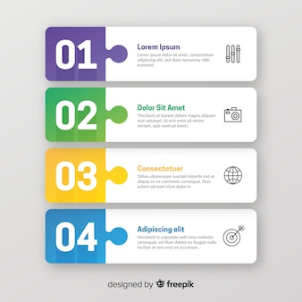 Colección pasos coloridos infografía