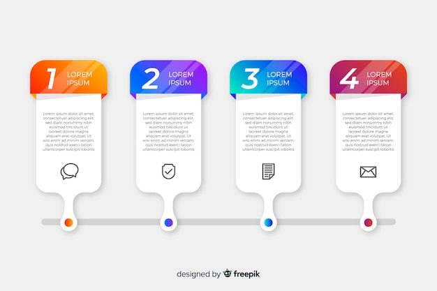 Colección pasos infografía diseño plano