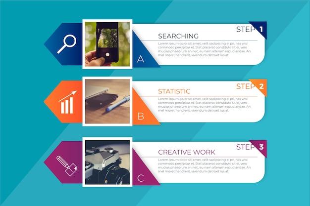 Colección de pasos de infografía empresarial