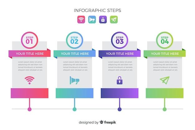 Colección de pasos de infografía gradiente