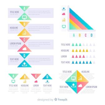 Colección pasos infografía planos con estadísticas