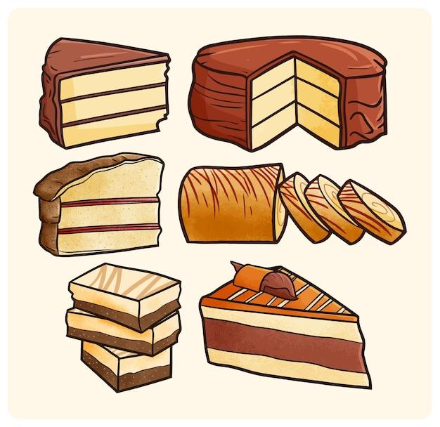 Colección de pastelería de chocolate divertida y deliciosa en estilo doodle