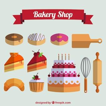 Colección de pastelería en diseño plano