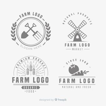 Colección de pastillas de logos de granja en diseño plano