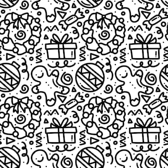 Colección de patrón de día de navidad con iconos y elementos de diseño