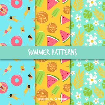 Colección patrón elementos verano dibujados a mano