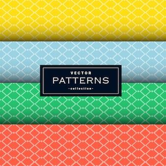 Colección de patrón de líneas netas mínimas en cuatro colores