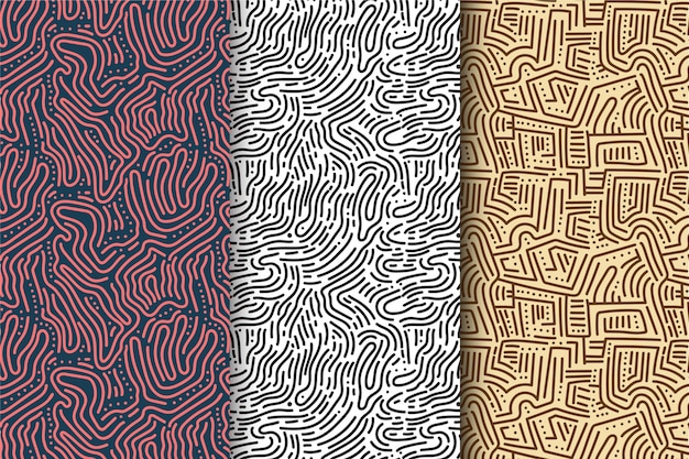 Colección de patrón de líneas redondeadas