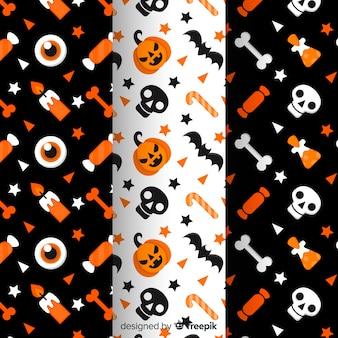 Colección de patrón plano de halloween