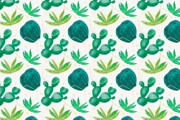 Colección de patrón de plantas de cactus