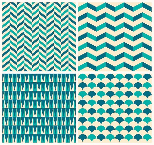 Colección patrón de la vendimia. conjunto de cuatro patrones sin fisuras con motivos geométricos.