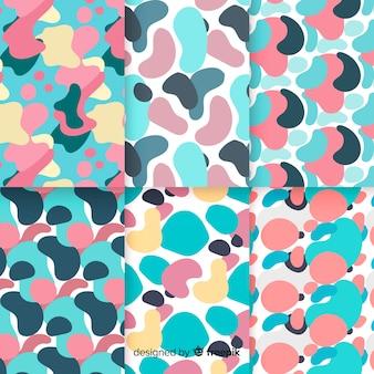 Colección de patrones abstractos dibujados a mano con burbujas