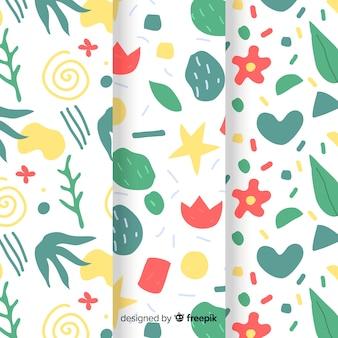 Colección de patrones abstractos dibujados a mano con plantas