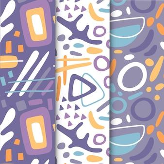 Colección de patrones abstractos dibujar a mano