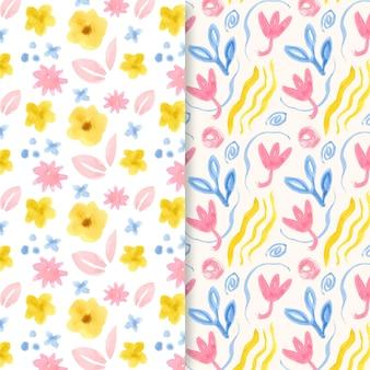 Colección de patrones abstractos florales en acuarela