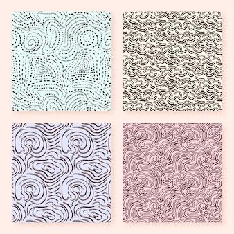 Colección de patrones abstractos de líneas redondeadas