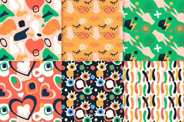 Colección de patrones abstractos retro dibujados a mano
