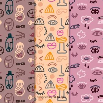 Colección de patrones abstractos violeta y rosa dibujados a mano