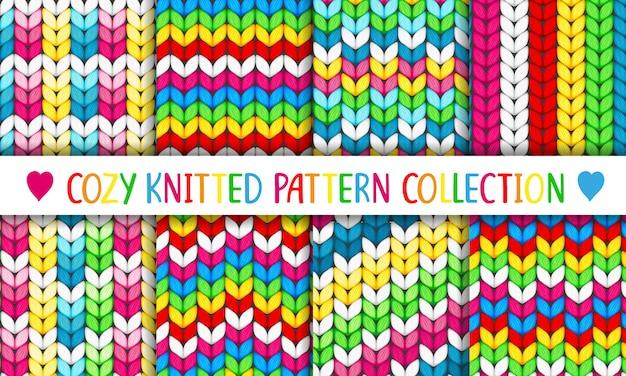 Colección de patrones acogedores de punto arcoíris