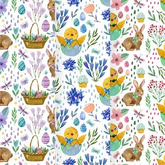 Colección de patrones de acuarela del día de pascua