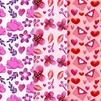 Colección de patrones de acuarela del día de san valentín