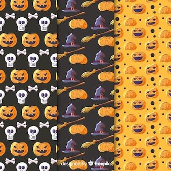 Colección de patrones de acuarela de elementos de halloween