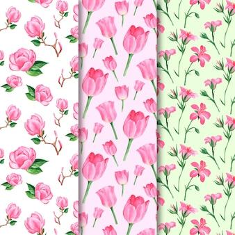 Colección de patrones de acuarela de primavera con flores