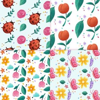 Colección de patrones de acuarela de primavera