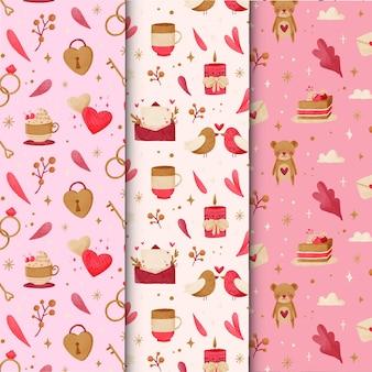 Colección de patrones de acuarela de san valentín