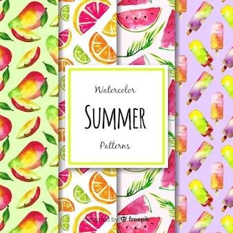 Colección de patrones de acuarela de verano