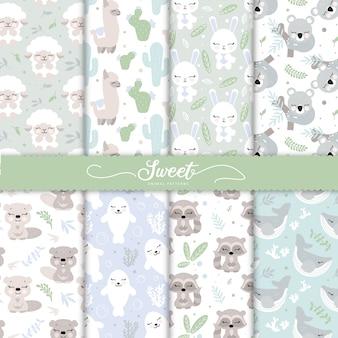 Colección de patrones de animales de bebé de dibujos animados para papel tapiz de bebé
