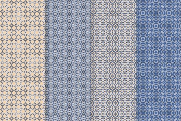 Colección de patrones árabes lineales de diseño plano