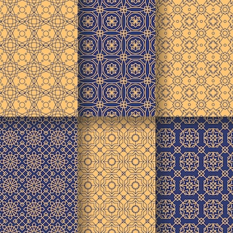 Colección de patrones árabes lineales planos