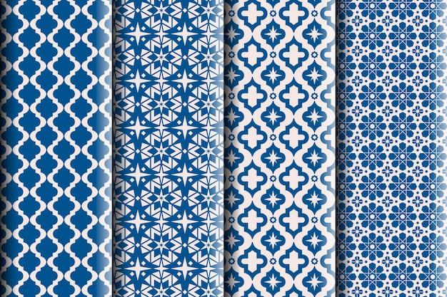 Colección de patrones árabes ornamentales planos