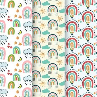 Colección de patrones de arco iris dibujados a mano