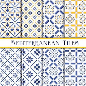 Colección de patrones de azulejos mediterráneos
