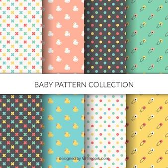 Colección de patrones de bebé en estilo plano