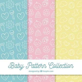 Colección de patrones de bebé con juguetes y ropa