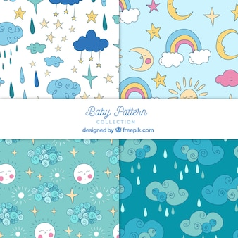 Colección de patrones de bebé con lindos elementos