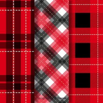 Colección de patrones de búfalo rojo de diseño plano