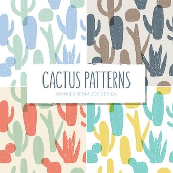 Colección de patrones de cactus sin costura.